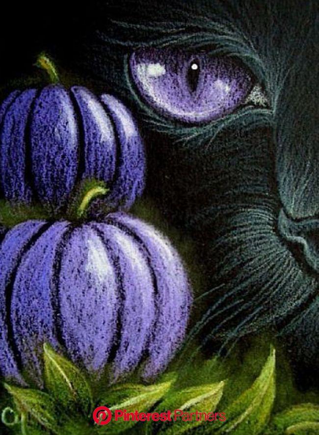 "Cat Art...=^.^=...❤... ""Black Cat - Halloween"" By Artist Cyra R. Cancel... | Halloween art, Halloween painting, Halloween canvas paintings"