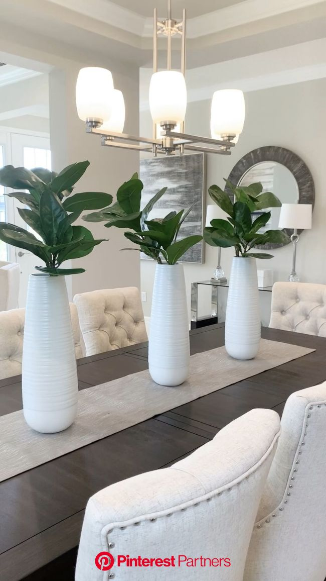 All white dining and living room decor located in Lake Nona. [Video] in 2020 (With videos) | Decor home living room, Living room decor purple, White r