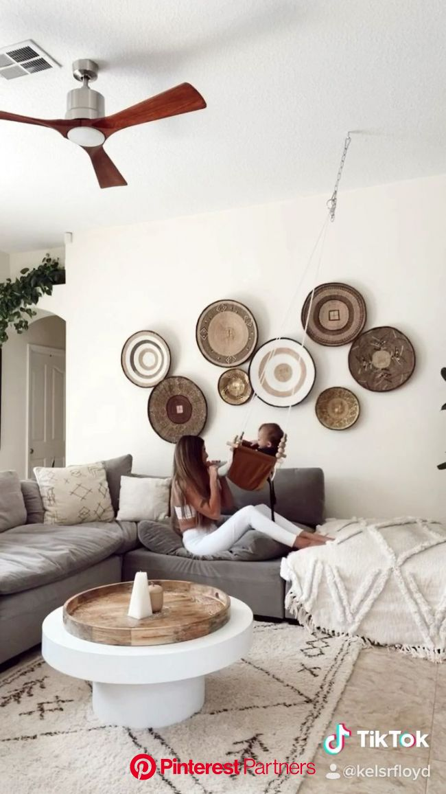 Baby, home, home decor, boho decor, family, mom, baby swing, living room, living room decor wall baskets, sectional, white… [Video] in 2020 (With vide