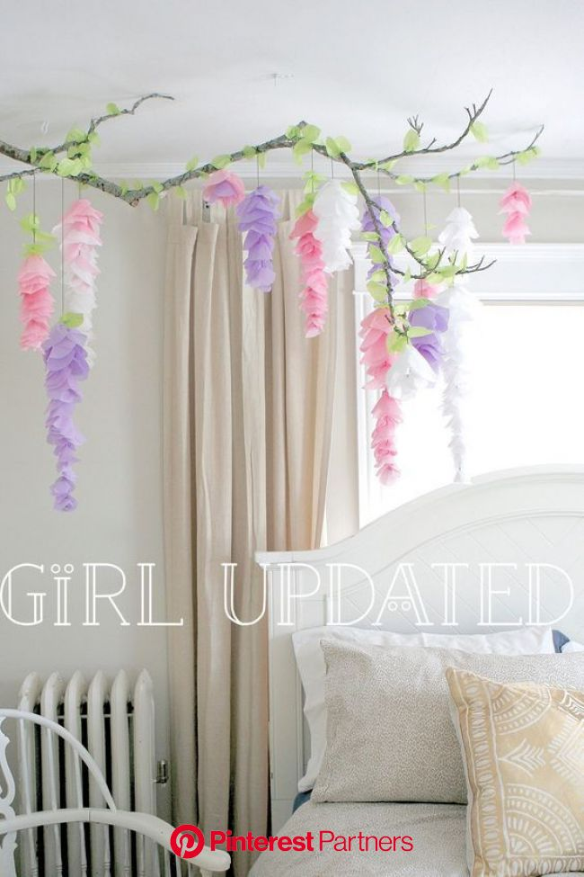Wisteria tissue paper flower garland branch decor  for wedding, nursery, display, party or bedroom!! by GirlUp…   Paper flower garlands, Paper flowers
