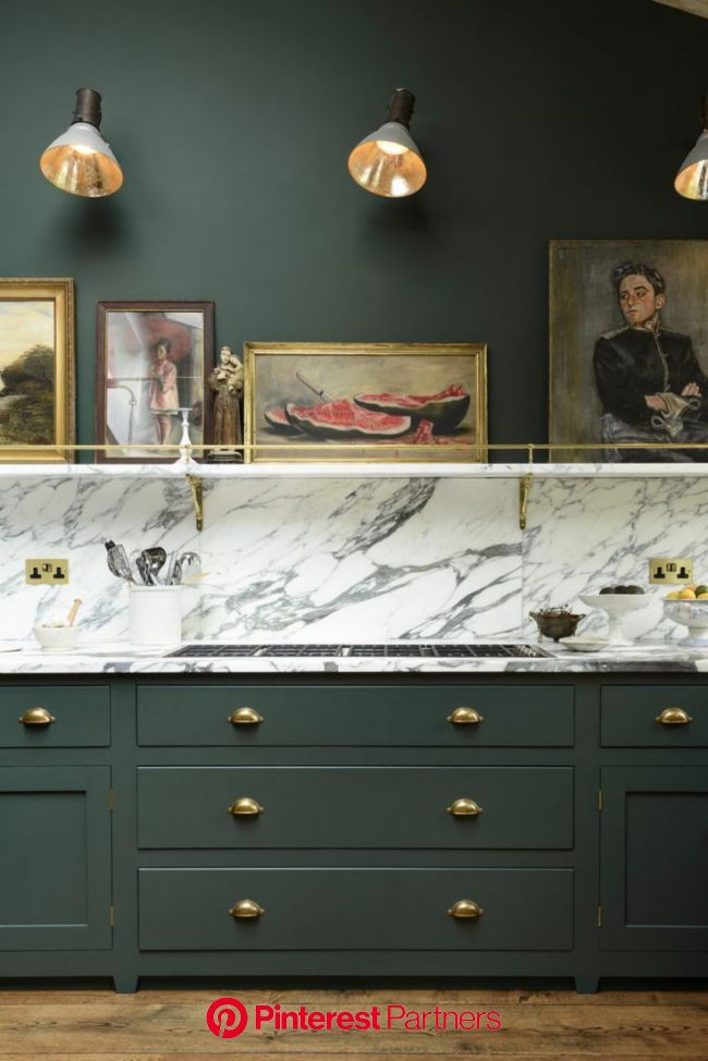Luxe Bohemian Kitchen by deVOL | Bohemian kitchen, Green kitchen cabinets, Kitchen marble