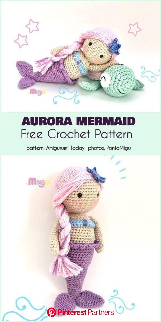 Aurora Mermaid Free Crochet Pattern   Vzory amigurumi, Háčkované hračky, Háčkování