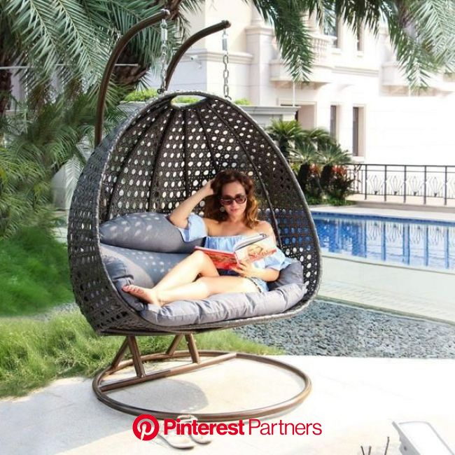 Best Hanging Wicker Chairs for Outdoor and Indoor Lounge   Wicker lounge chair, Swing chair garden, Hanging chair with stand