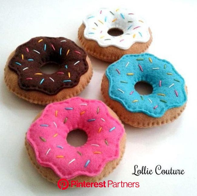 Felt Donuts Set of 4 Plush Toy for Pretend Play, Felt Food, Play Kitchen, Play Food, Tea Party, Stra | Felt food diy, Felt food, Felt cake