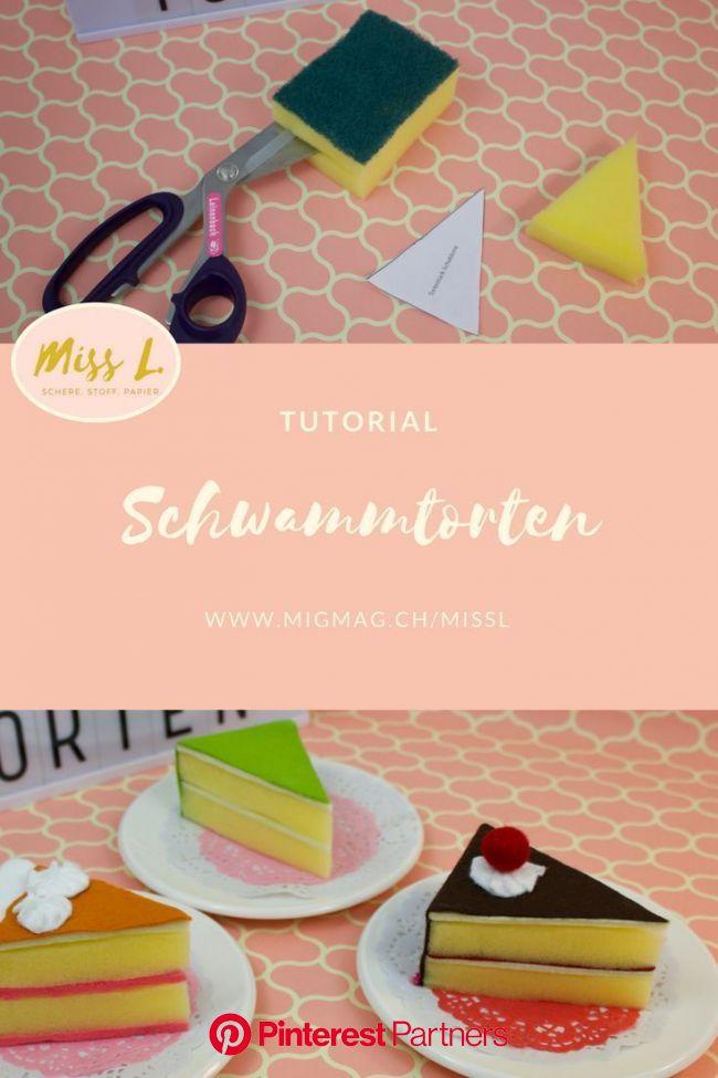 Schwammtorten, Schwamm, DIY, Basteln, Tutorial, Miss L., Migros-Magazin, Sponge … - Basteln ideen | Diy craft tutorials, Diy crafts for kids, Diy for