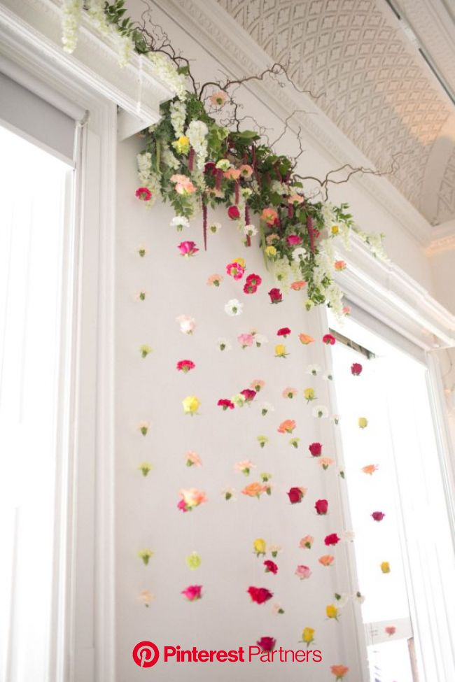 Whimsical + Colorful London Gallery Wedding in 2020 | Flower backdrop, Wedding ceremony flowers, Wedding decorations