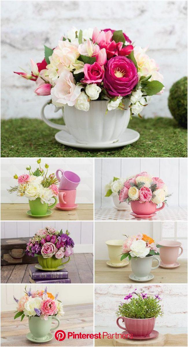 Floral Teacup Arrangements for Mother's Day 2016   Shop Ceramic Teacups at http://www.koch.c…   Easy diy mother's day gifts, Diy mothers day