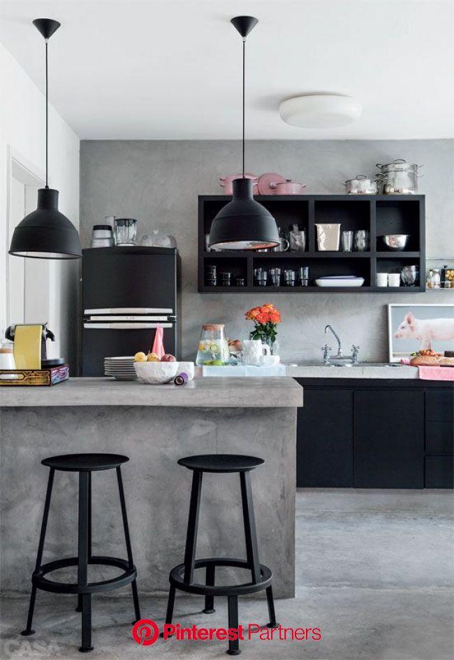 Casa pequena, alugada e térrea com decoração descolada | Cuisine contemporaine, Cuisine béton, Cuisines deco
