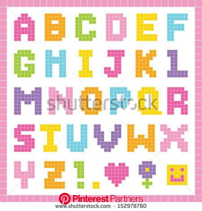Cute pixel art alphabet set in pretty colors, isolated on white with clipping path. Good for scrap-booking, school projects, posters, textiles. See my