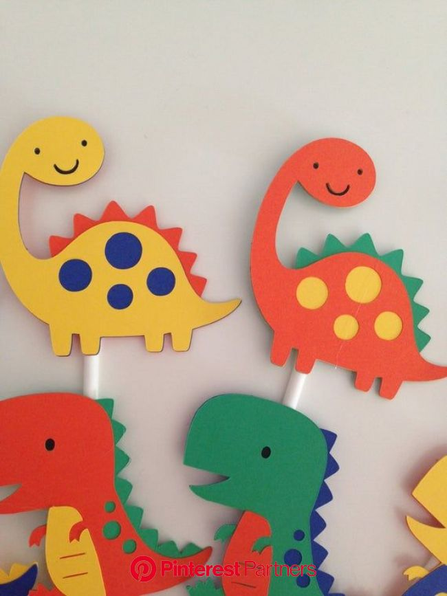 12 Dinosaur Cupcake Toppers  Dinosaur Party Decor  T-Rex | Etsy in 2021 | Dinosaur cupcake toppers, Preschool crafts, Dinosaur crafts
