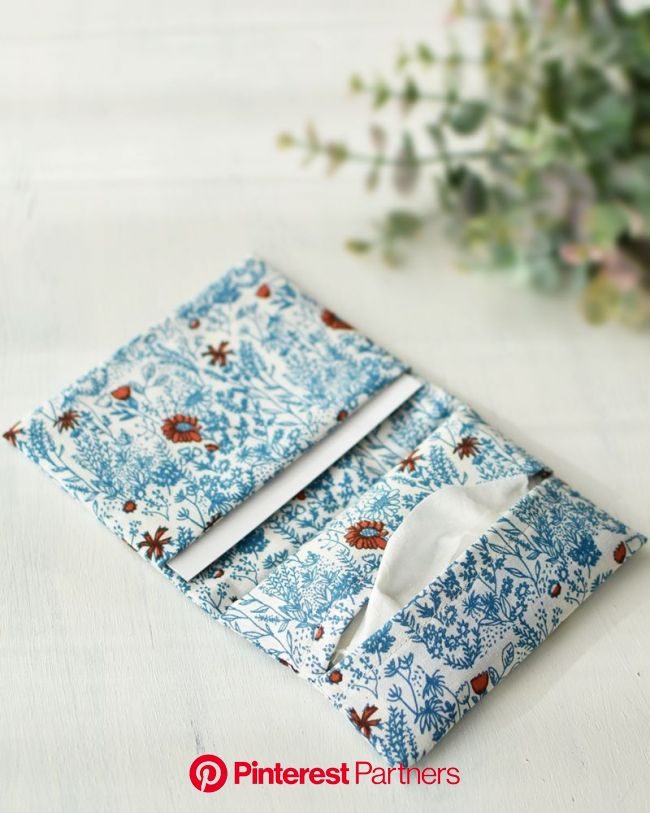Just fold and sew! Two-Pocket Tissue Case – Sewing Instructions | KOKKA-FABRIC.COM | have fun with kokka fabric! in 2020 | Tissue case, Pocket tissue