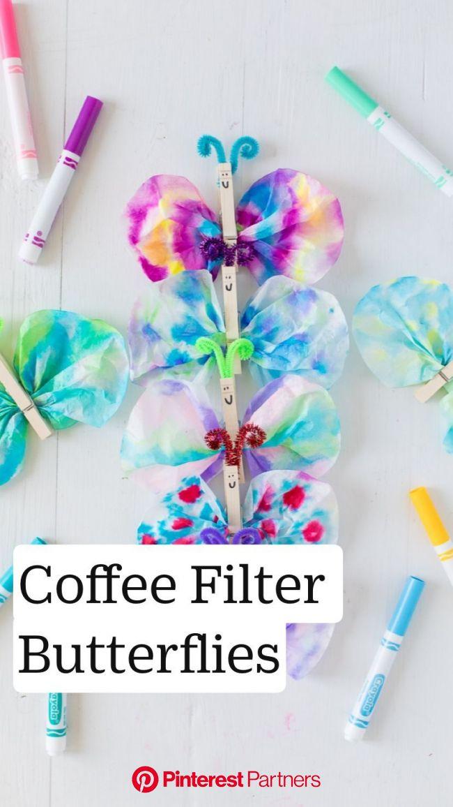 #schmetterling basteln kaffeefilter Coffee Filter Butterflies   Preschool crafts, Summer crafts, Toddler crafts