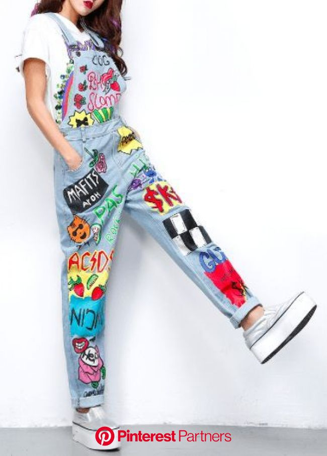 Cartoon drawings Denim Overalls | Aesthetic clothes, Painted clothes, Art clothes