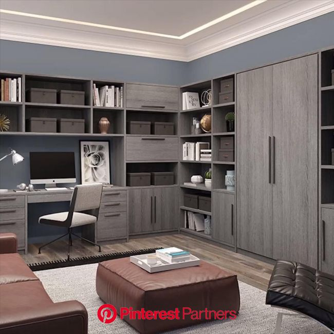 Best Home Office Design with Wall Murphy Bed [Video] | Small home offices, Home room design, Home office setup