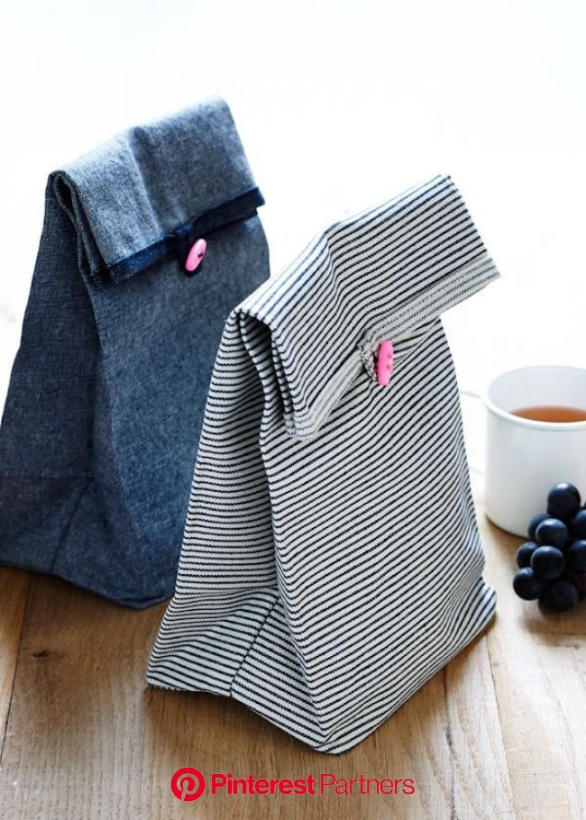 Button Lunch Bags | Diy lunch bag, Sewing projects, Diy sewing projects