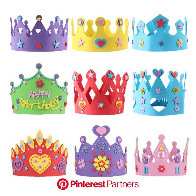 DIY Kit Birthday Hat Parent child Handmade Birthday Cap Kids EVA Props Creative Cartoon Imperial Crown Prince Princ… | Birthday hat, Crown for kids, C