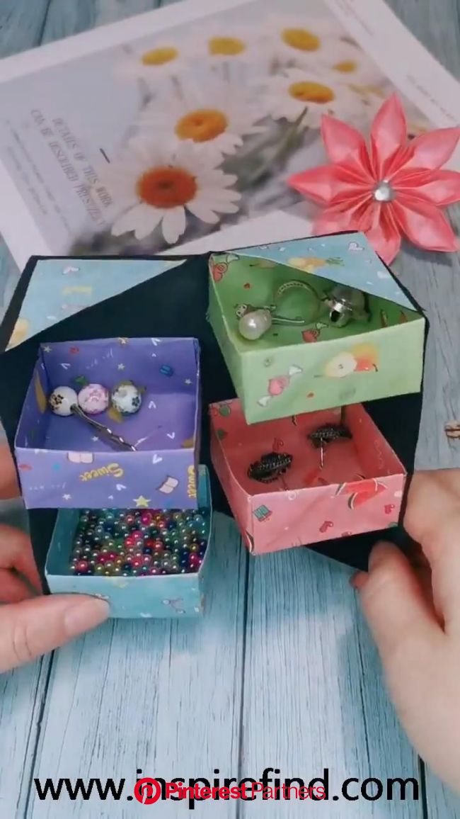 Tips for paper jewelry storage box!???? [Video] in 2020 | Paper crafts diy kids, Origami crafts diy, Paper crafts diy tutorials