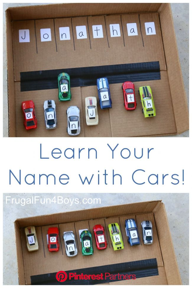 Learn Your Name with Hot Wheels Cars - Frugal Fun For Boys and Girls | Toddler learning, Preschool activities, Toddler learning activities