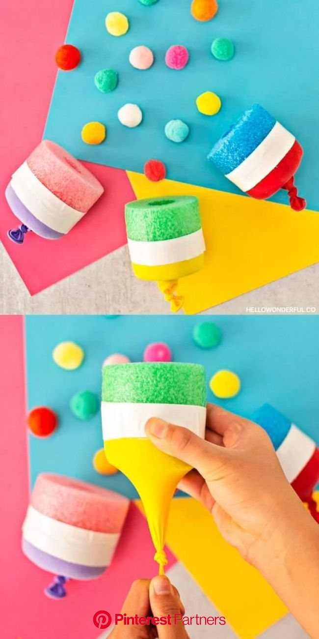 Pool Noodle Pom Pom Shooter [Video] [Video] in 2020 | Pool noodle crafts, Halloween crafts for toddlers, Kids stem activities