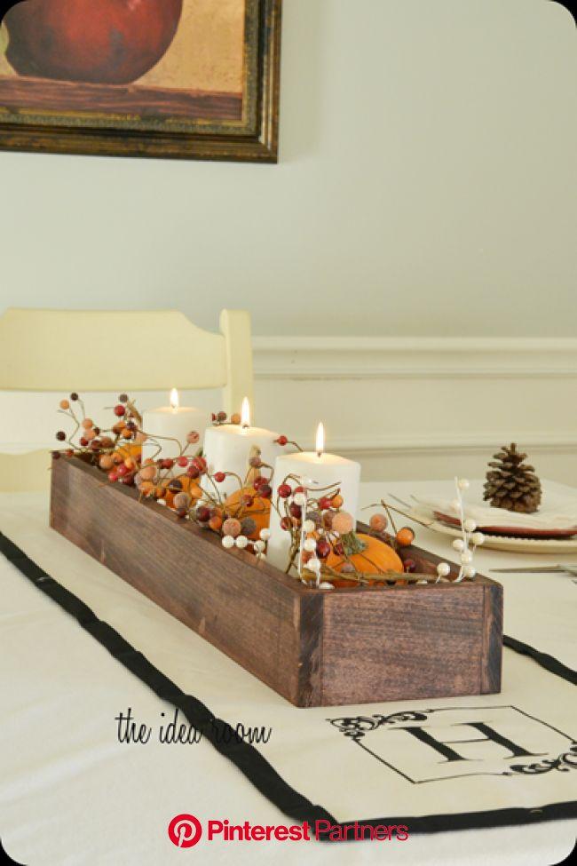 DIY Table Runner--Monogrammed | Wooden box centerpiece, Table runner diy, Wooden box diy