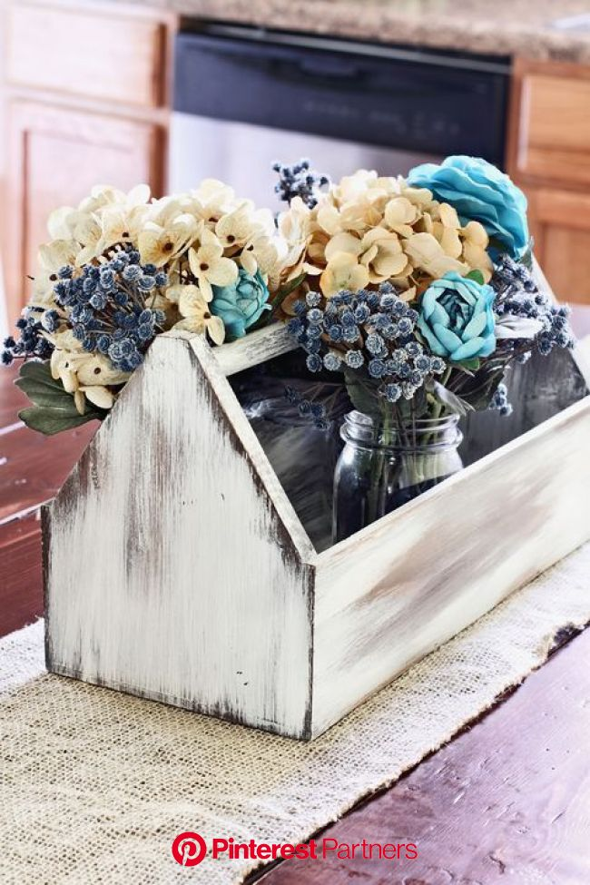 17 Mason Jar Flower Arrangements You'll Want to Display All Summer | Wooden box centerpiece, Mason jar flower arrangements, Wooden flower boxes