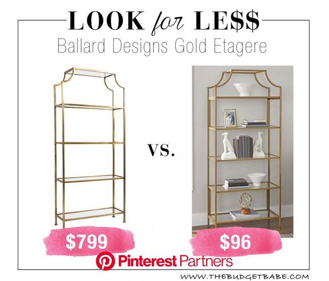 Look for Less: Ballard Designs Gold Etagere Bookcase | Gold etagere, Ballard designs, Etagere bookcase