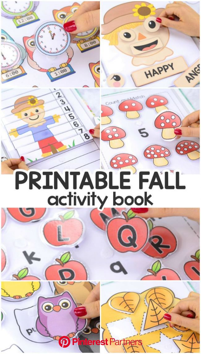 Printable Fall Quiet Book - Activity Book for Pre-K and K | Toddler learning activities, Printable activities for kids, Preschool learning activities