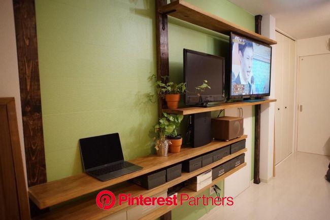 ディアウォールで賃貸に柱を立て壁一面のテレビ台と棚を設置 - Part 3 | ディアウォール, 自宅で, インテリア 収納