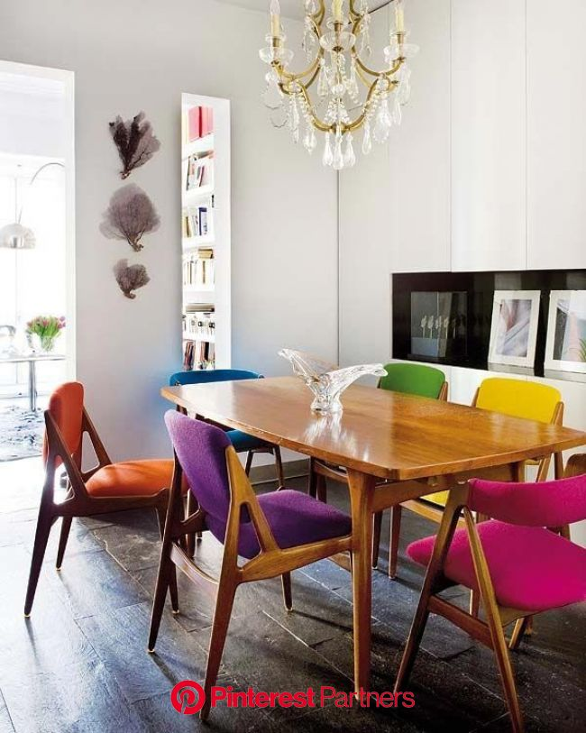 Colorful Dining Chairs | Eclectic chairs, Interior, Dining room inspiration