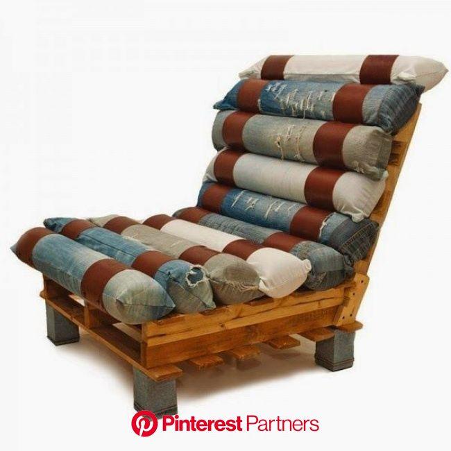 Design Sustentável - Reaproveitamento do velho jeans | Poltrona de pallet, Idéias para mobília, Cadeiras vintage