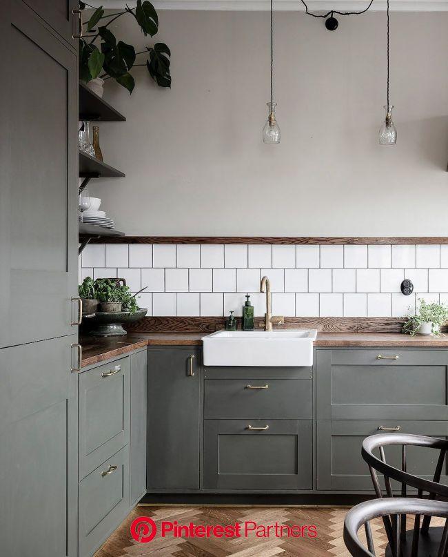 Kitchen in olive and dark wood - via Coco Lapine Design blog | Scandinavian kitchen design, Kitchen renovation, Interior design kitchen
