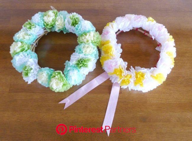 100均のお花紙が、ふんわり華やかフラワーリースに♪花冠にも変身 | ぎゅってWeb | お花紙, ハンドメイド 作り方 100均, お花紙 アレンジ