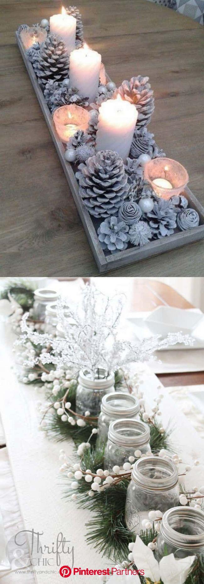 27 Gorgeous DIY Thanksgiving & Christmas Table Decorations & Centerpieces | Christmas table decorations centerpiece, Christmas centerpieces, C
