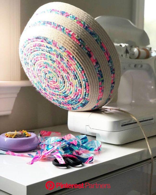 New England Maker:  Sewcialite —New England Lifestyle, Motherhood, + DIY - Birch Landing Home in 2021 | Coiled fabric basket, Woven rug diy, Coiled fa