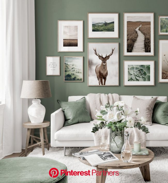 Stunning gallery wall nature posters red stag green white interior oaken frames - Gallery wall inspir… in 2020 | Decor home living room, Home living r