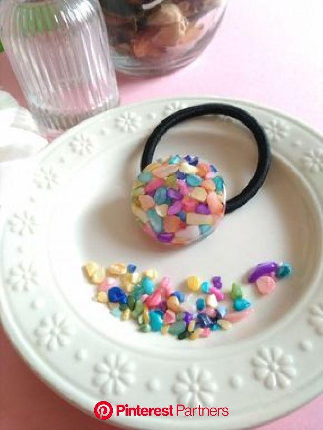 再販♡カラフルシェルのヘアゴム♡ | 樹脂アート, プラスチッククラフト, 樹脂クラフト