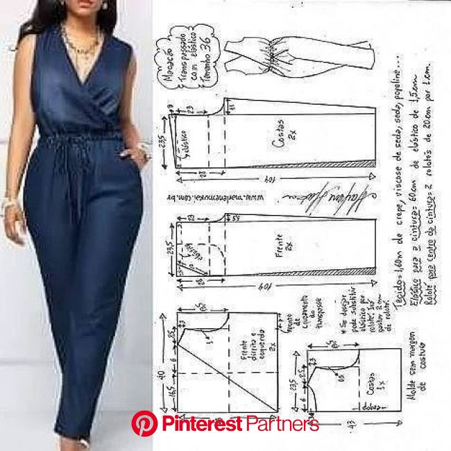 Летний комбинезон. в 2020г   Выкройка комбинезона, Пошив модной одежды, Выкройки женской одежды