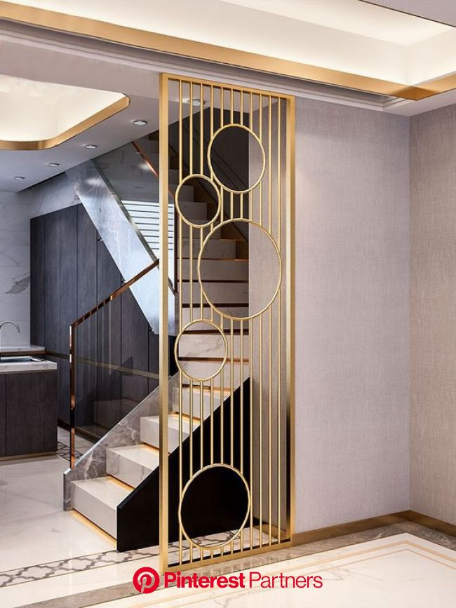 metal partitions/stainless steel/interior design/metal screen/stair | Pooja room door design, Room door design, Wall partition design
