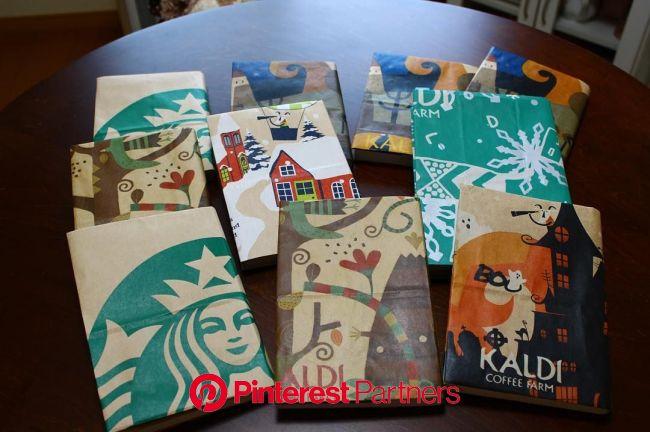 スタバやカルディなど、お気に入りの紙袋で作る雑貨DIYがイイ感じ♪   手作り ブックカバー, 紙袋, スタバ 紙袋