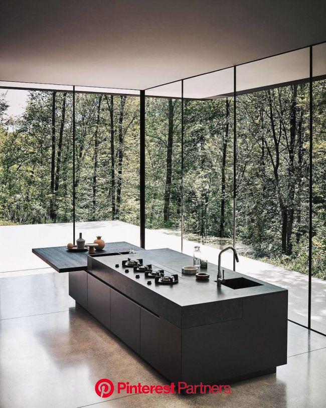 Minimal Interior Design Inspiration | 135 in 2020 | Black kitchen island, Modern kitchen design, Black appliances kitchen