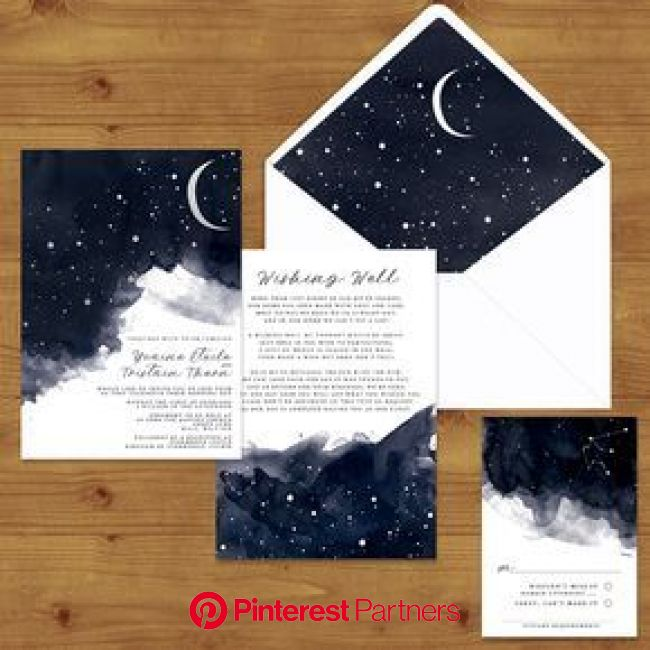 STARRY NIGHT Celestial Wedding Invitations | Celestial wedding invitations, Starry night wedding, Starry wedding