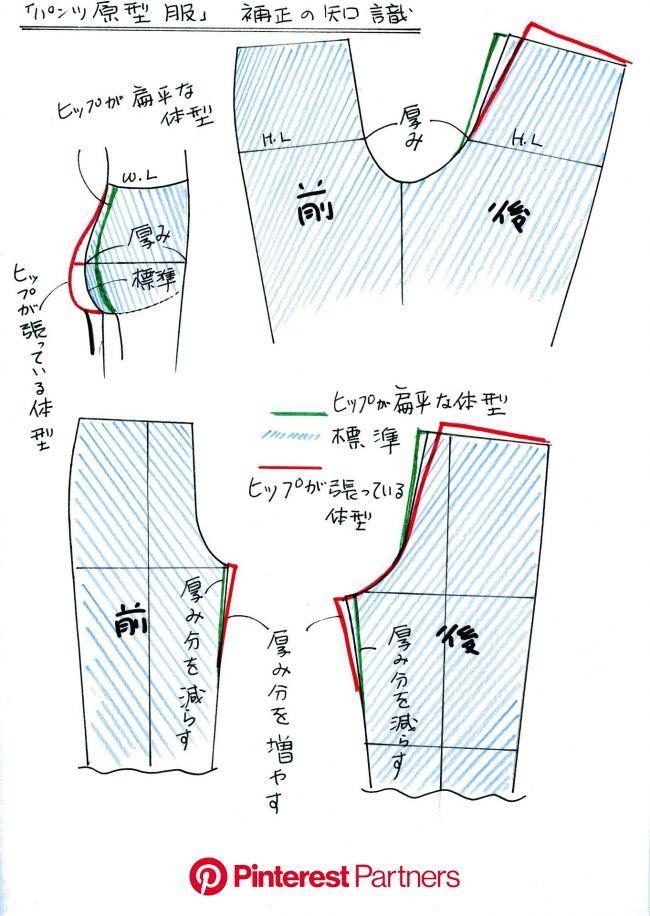 「パンツ原型服」ヒップの厚みの関係 | 裁縫テクニック, ソーイング, 型紙