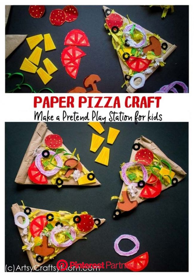 Pretend Play Food - Paper Pizza Craft for Kids | Pizza craft, Pretend play food, Crafts for kids