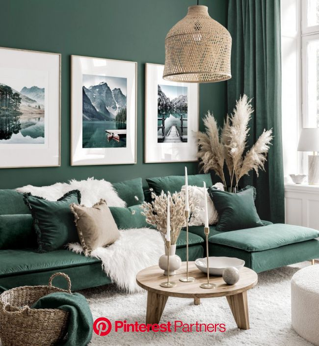 Stunning gallery wall art green living room nature posters oak frames in 2020 | Living room green, Beautiful living rooms decor, Living room decor mod