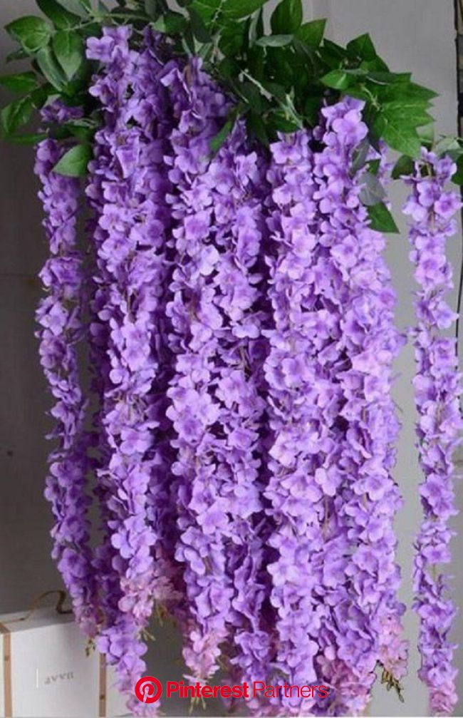 """5pcs 70"""" Purple Silk Wisteria Hanging Flowers Garland 3 flower heads with leaves, Wisteria Vine We…   Hanging flowers, Flower garland wedding, Pa"""