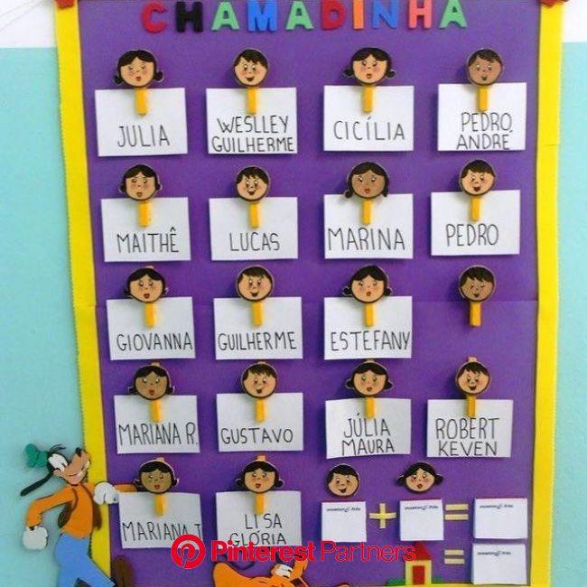 Amei esse modelo de chamadinha, simples e prático para o dia a dia na escola. Imagem:… | Artesanato pré-escolar, Chamadinha educação infantil, Sala de