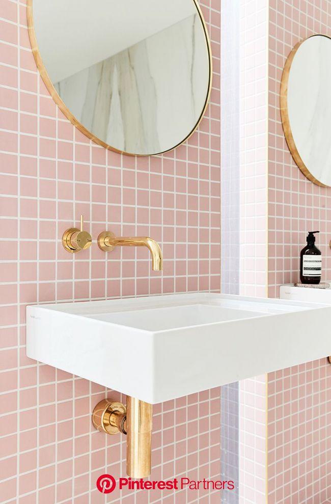 A Gorgeous Pink-Tiled Bathroom with Gold Hardware | Bathroom inspiration, Bathroom design, Pink bathroom