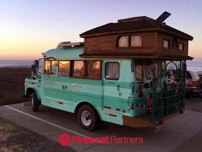the cool bus and the sunset   Homemade camper, Van life, Bus living