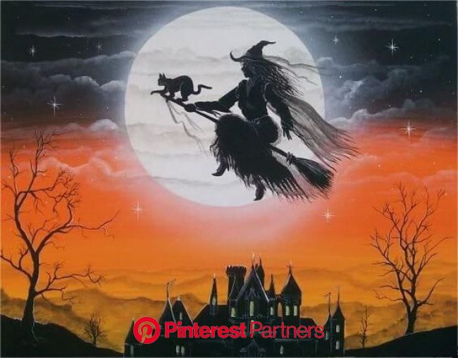 31 Halloween Pictures That Are So Creepy They Should Be Banned Forever | Halloween flying witch, Halloween painting, Halloween pictures