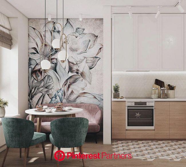 Pięknym uzupełnieniem zielonej kuchni może być stylowa tapeta | Интерьер кухни, Интерьер, Дизайн интерьера